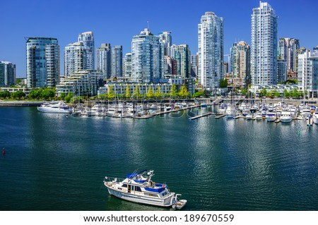View on Yaletown from Cambie Bridge in Downtown Vancouver. - stock photo