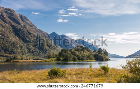 View onto beautiful Loch Shiel and the Scottish Highlands at the Glenfinnan Monument, Scotland, UK - stock photo