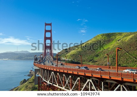 View onto Golden Gate Bridge early in the morning - stock photo