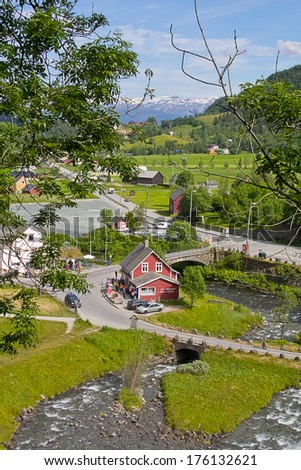 View onto Norwegian village from the top - stock photo