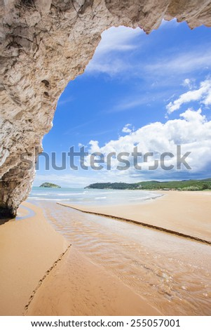 View out of a cave, Italy - stock photo