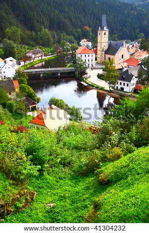 View out of Rosenberg castle to small old town, Czech republic - stock photo