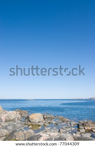 View out on baltic sea from simpnas, Bjorko - stock photo
