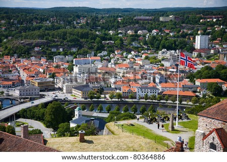 View out over Halden from the Fredrikstens Fortress - stock photo