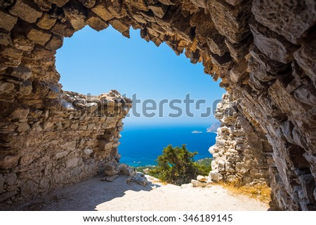 View out through the remains of Monolithos Castle on the Greek Island of Rhodes Dodecanese Greece Europe