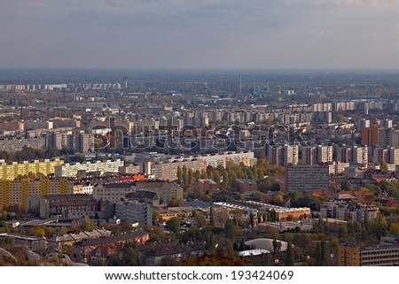 View over a suburban area with big blocks of flats - stock photo