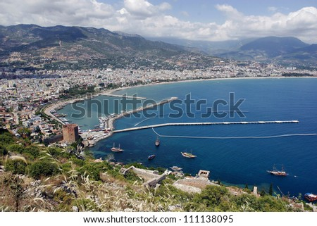 View over Alanya from the hill - stock photo