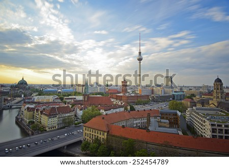 View over Alexanderplatz in Berlin Mitte, Berlin, Germany, Europe - stock photo