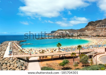 View over Amadores beach on Gran Canaria, Spain  - stock photo