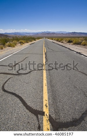 View over an infinite road in California, USA - stock photo