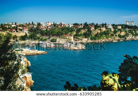 View over Antalya old port and old city (Kaleici), Turkey