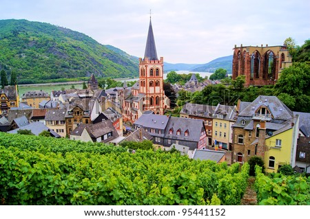 View over Bacharach along the famous Rhine River, Germany - stock photo