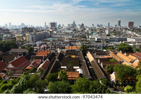 view over bangkok from the golden mountain