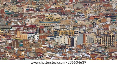 View over barcelona from the top of montjuic castle, spain. - stock photo
