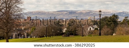 View over Befast City from Stormont Estate, Northern Ireland. - stock photo