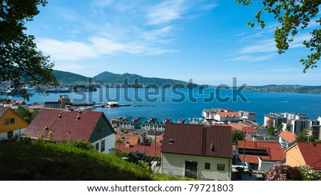 View over Bergen from the road named fjellveien by the side of the mountain - stock photo