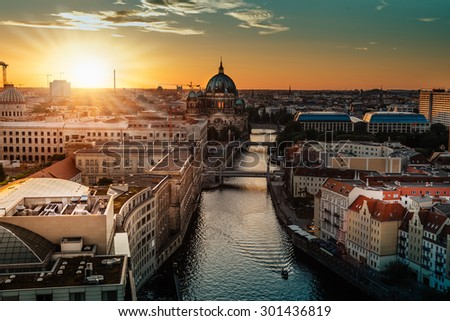 view over berlin at sunset  - stock photo