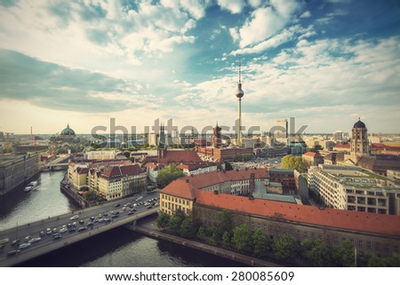 View over Berlin Skyline (TV Tower, Alexanderplatz, Town Hall, River Spree and Berlin Cathedral), Germany, Europe, vintage filtered style  - stock photo