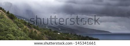 View over Black Sea, Crimea, Ukraine with rain - stock photo