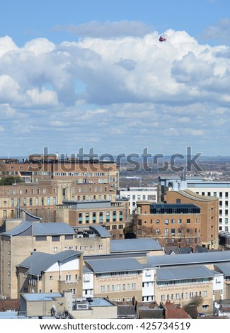 View over Bristol England with Helicopter in Sky - stock photo