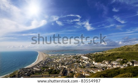 View over British seaside town and coastline - stock photo