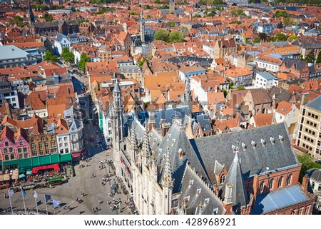 View over Bruges / Beautiful old town of Bruges in Belgium / Cityscape of bruges - stock photo