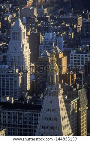 View over building tops in New York City, NY - stock photo