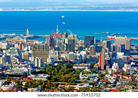 View over Cape Town, South Africa, with the harbor in the background - stock photo