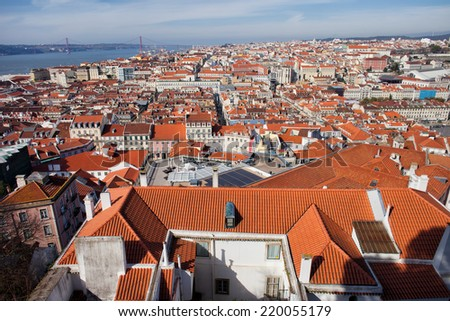 View over city of Lisbon in Portugal. - stock photo
