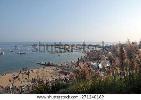 View over Cobb harbour, Lyme Regis, Dorset - stock photo