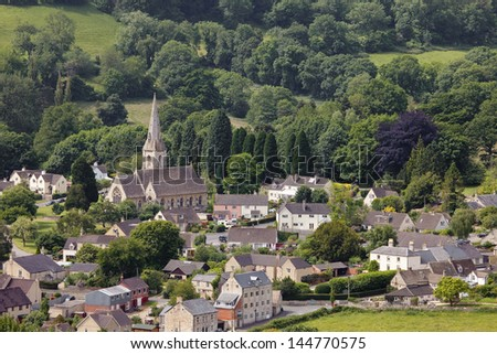 View over Cotswold village, Woodchester
