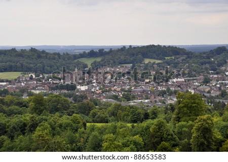 View over Dorking, Surrey, England - stock photo