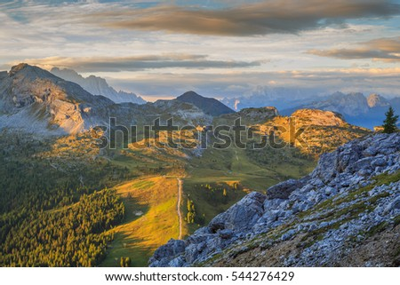 View over Falzarego Pass to Cinque Torri, Alta Badia, Dolomites, South Tyrol, Italy