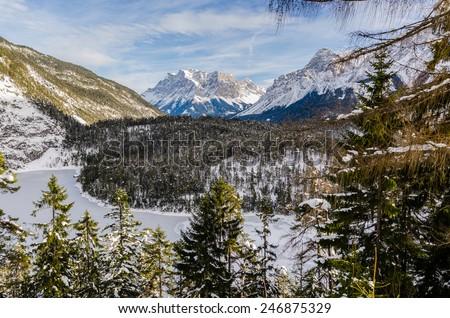 View over Fernsteinsee in Tirol Austria - stock photo