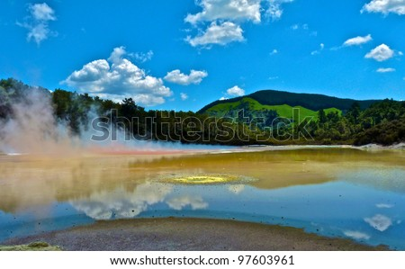 View over geothermal area outside of Rotorua, New Zealand - stock photo