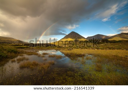 View over  Glen Sligachan - stock photo
