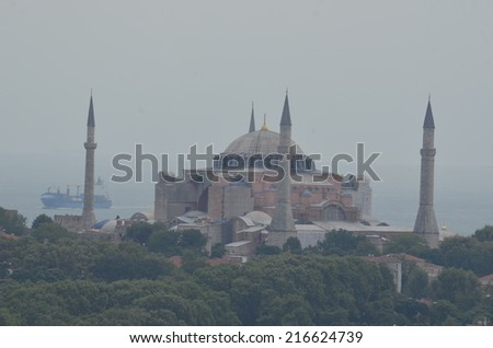 View over hagia sophia from the top of galata tower in beyoglu, istanbul. - stock photo
