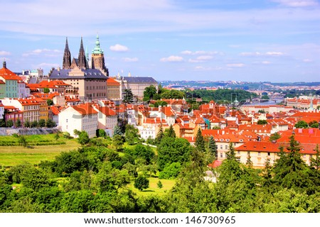 View over historic center of Prague with castle, Czech Republic - stock photo