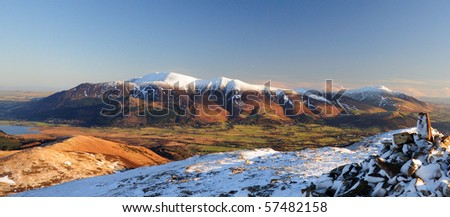 View over Keswick to Skiddaw and Blencathra from Causey Pike, English Lake District - stock photo