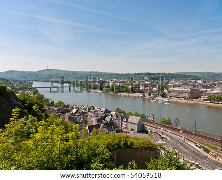 View over Koblenz - stock photo