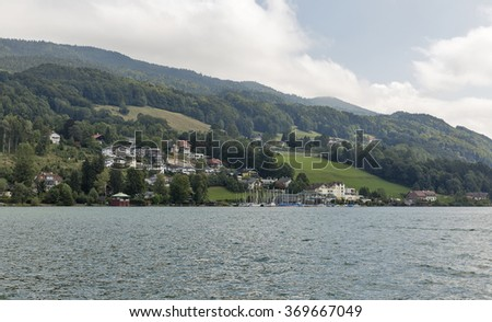 View over lake and village Mondsee in Austrian Alps, Salzburger Land - stock photo