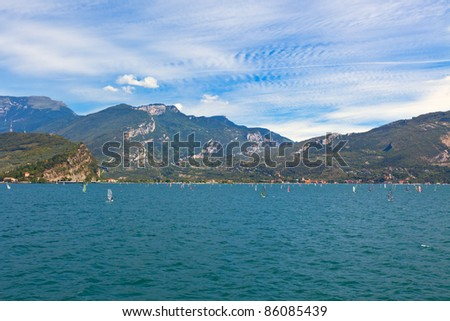 View Over Lake Garda in Italy. Good wind for windsurfing. - stock photo