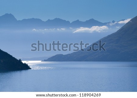 View over Lake Wakatipu near Queenstown, New Zealand in the Early Morning - stock photo