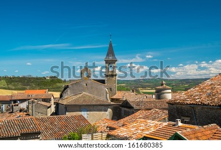 View over Lautrec village rooftops, France  - stock photo