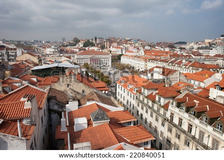 View over Lisbon, the capital and the largest city of Portugal. Rossio square in the middle.