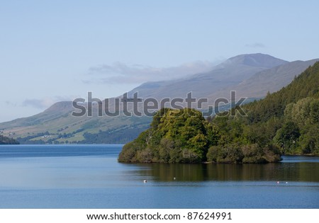 View over Loch Tay to Ben Lawers - stock photo