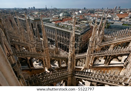 View over Milan from the Duomo rooftop - stock photo