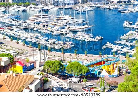 view over Monaco harbour. mediterranean landscape - stock photo