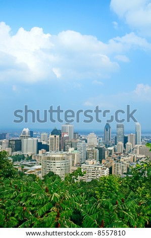 View over Montreal city center in summer. - stock photo