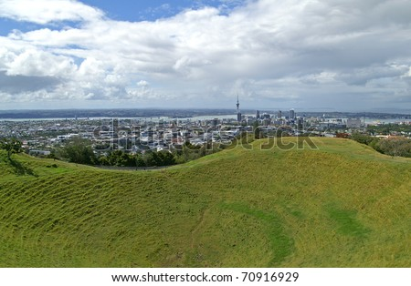 View over Mt Eden (Maungawhau) crater towards Auckland, New Zealand - stock photo